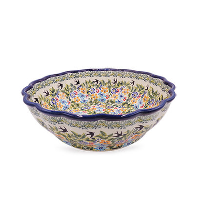 Black Birds Fly Shallow Serving Bowl
