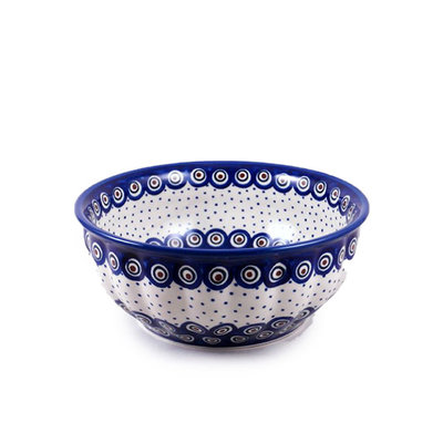 Dotted Peacock F21 Fluted Serving Bowl