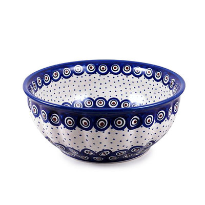 Dotted Peacock F24 Fluted Serving Bowl