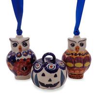 Pumpkin and Owl Ornaments