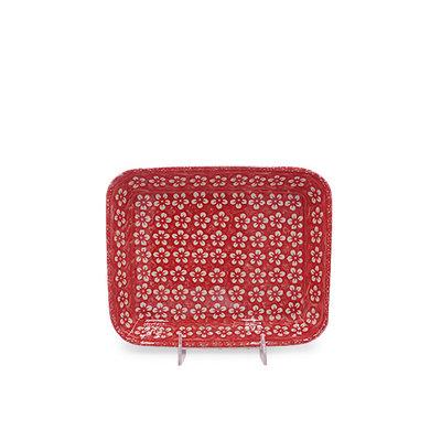 Scarlet Blossom Rectangular Baker - Sm
