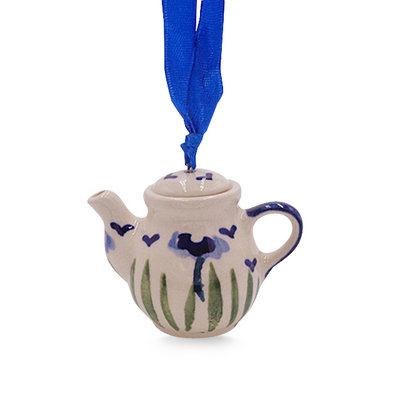 Blue Poppies Teapot Ornament