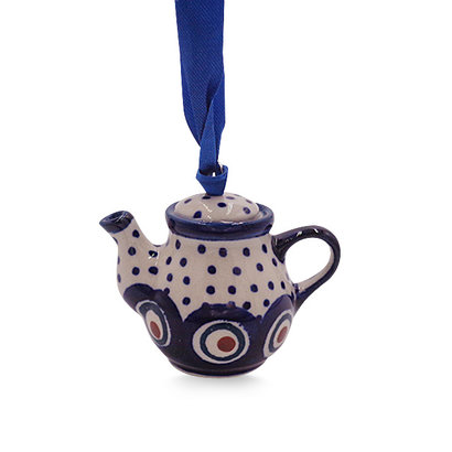 Dotted Peacock Teapot Ornament
