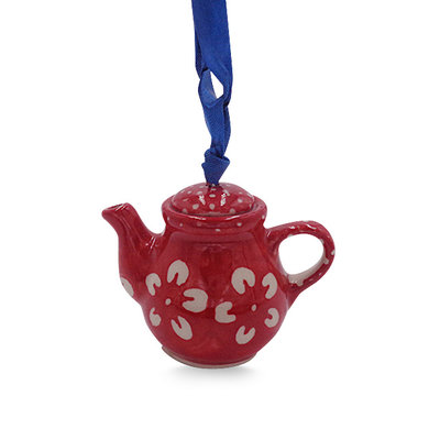 Scarlet Blossom Teapot Ornament