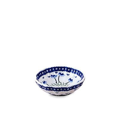 Blue Poppies Scalloped Dish 12