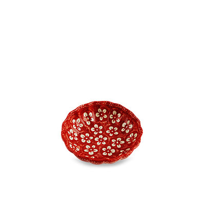 Scarlet Blossom Scalloped Dish 12