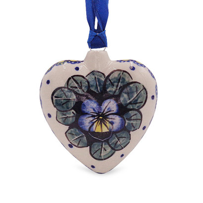 Pansies Puffy Heart Ornament