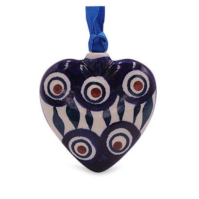 Peacock Puffy Heart Ornament