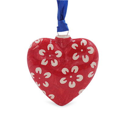 Scarlet Blossom Puffy Heart Ornament