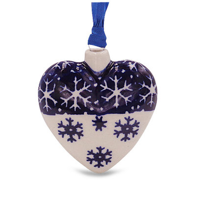 Snow Flake Puffy Heart Ornament