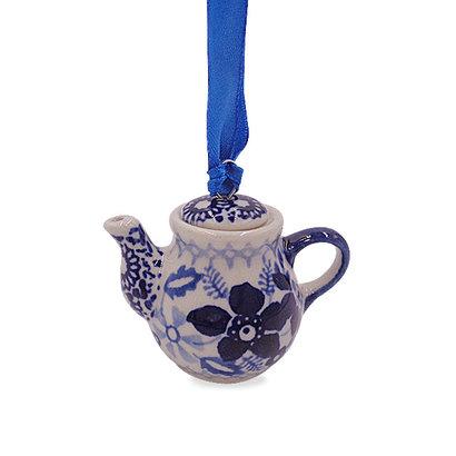 Indigo Garden Teapot Ornament