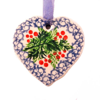CA Holly Berry Heart Ornament
