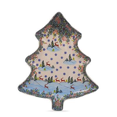 Kalich Reindeer Christmas Tree Platter - Lrg