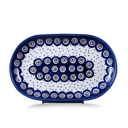 Dotted Peacock Oval Tray - Sm