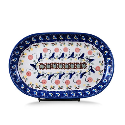 Blue Bird Oval Tray - Sm