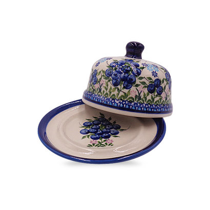 Blue Berries Round Butter Dish