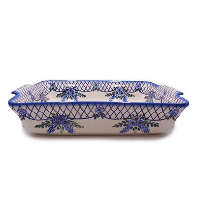 Lattice in Blue Rectanglar Baker - Lrg