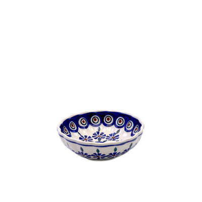Floral Peacock Scalloped Dish 12
