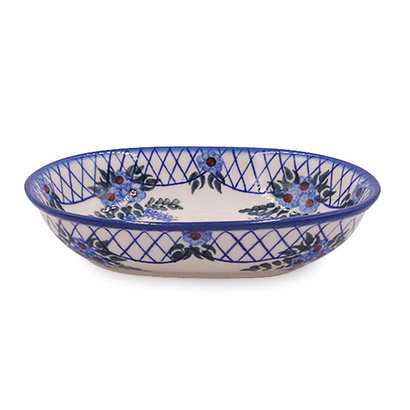 Lattice in Blue Oval Serving Bowl