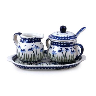Blue Poppies Cream & Sugar w/ Tray