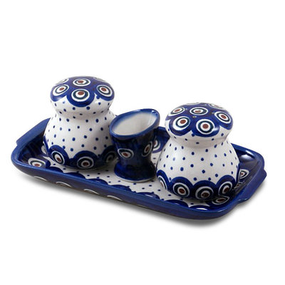 Dotted Peacock Salt & Pepper w/ Tray