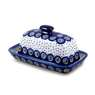 Dotted Peacock Butter Dish