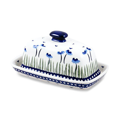 Blue Poppies Butter Dish