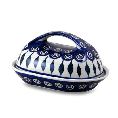 Peacock Butter Dish w/ Handle