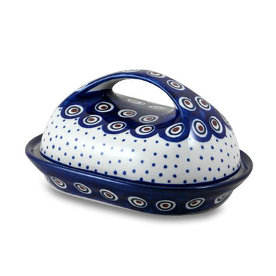 Dotted Peacock Butter Dish w/ Handle