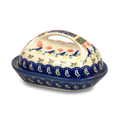 Blue Bird Butter Dish w/ Handle