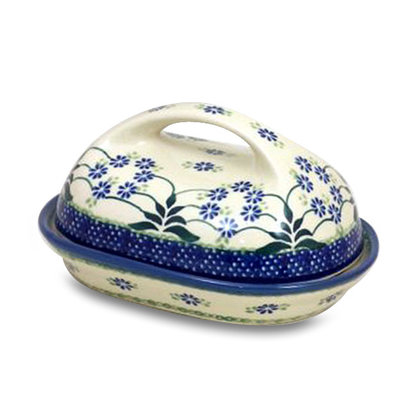 Forget Me Nots Butter Dish w/ Handle
