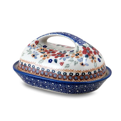 Posies Butter Dish w/ Handle