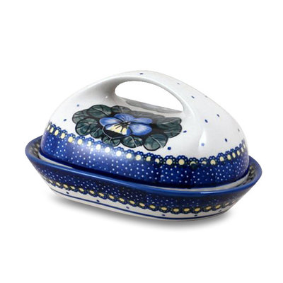 Pansies Butter Dish w/ Handle