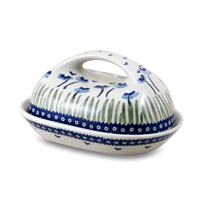 Blue Poppies Butter Dish w/ Handle