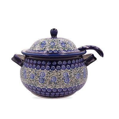 Blue Swirl Soup Tureen