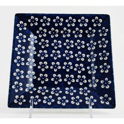 Blue Blossom Square Dessert Plate 18
