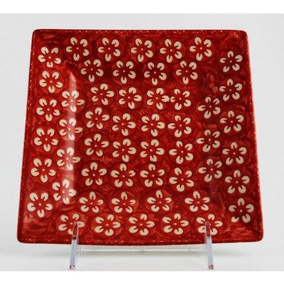 Scarlet Blossom Square Dessert Plate 18