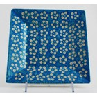 Turquoise Blossom Square Dessert Plate 18