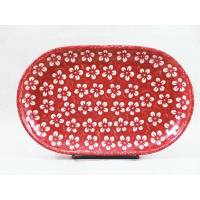 Scarlet Blossom Oval Tray - Sm