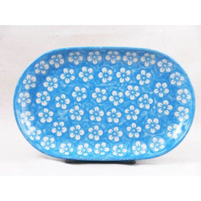 Turquoise Blossom Oval Tray - Sm