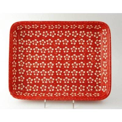 Scarlet Blossom Rectangular Baker - Med