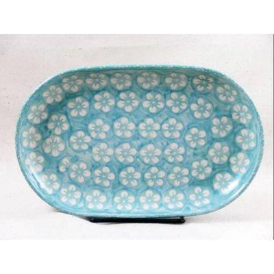 Mint Blossom Oval Tray - Sm