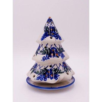 Lattice in Blue Illuminated Christmas Tree