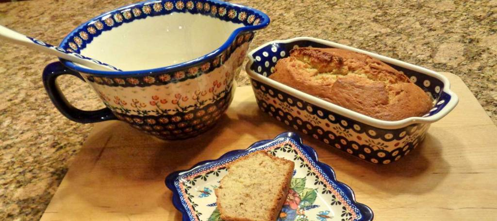 Banana Bread Baked in Hand Painted Ceramic Pottery
