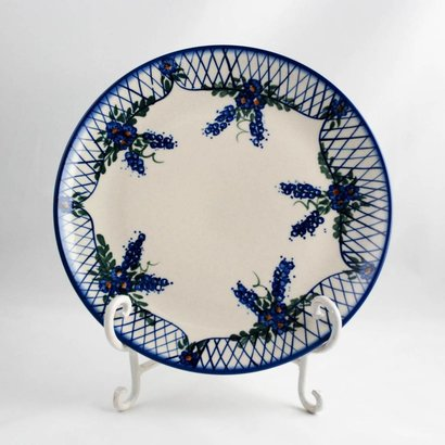 Lattice in Blue Dinner Plate 26
