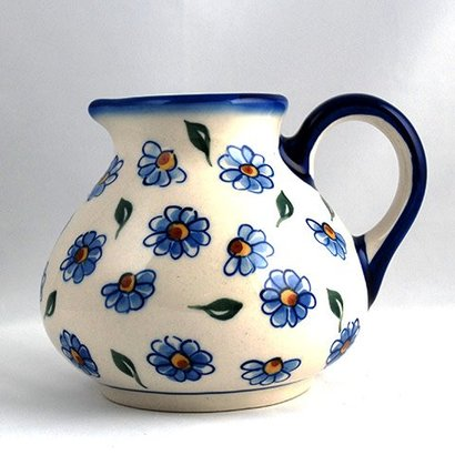 Painted Daisy Belly Pitcher - Lrg