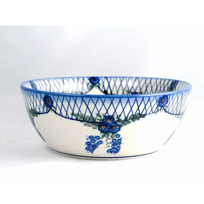 Lattice in Blue Serving Bowl 23