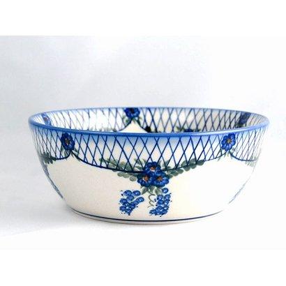 Lattice in Blue Serving Bowl 23