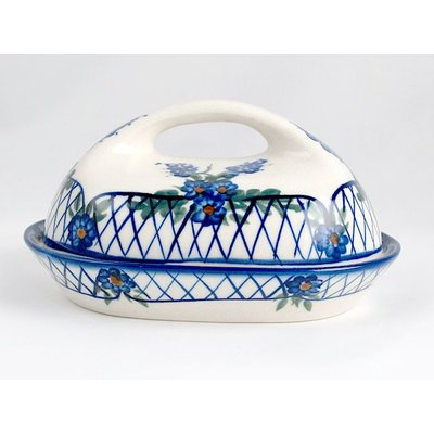 Lattice in Blue Butter Dish w/ Handle
