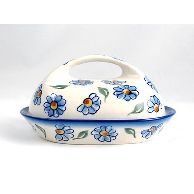 Painted Daisy Butter Dish w/ Handle